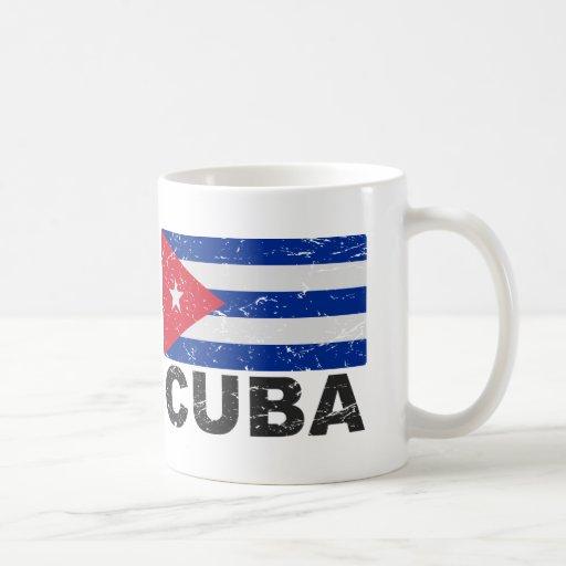 Bandera del vintage de Cuba Taza Básica Blanca