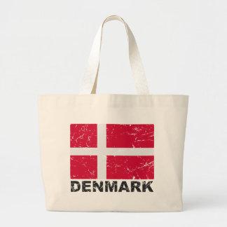 Bandera del vintage de Dinamarca Bolsas Lienzo
