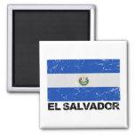 Bandera del vintage de El Salvador Imán Cuadrado