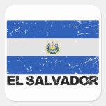 Bandera del vintage de El Salvador Pegatina Cuadrada