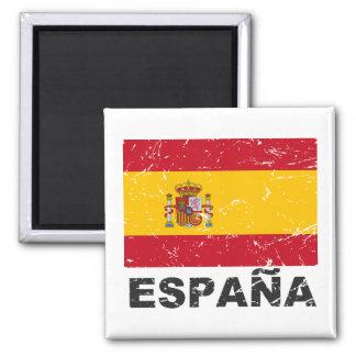 Bandera del vintage de España Imán Cuadrado