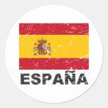 Bandera del vintage de España Pegatina Redonda