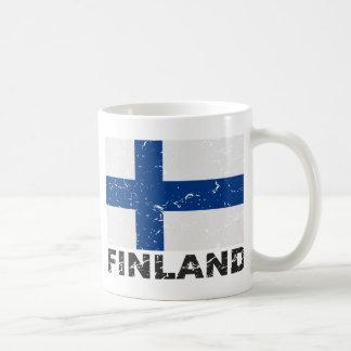 Bandera del vintage de Finlandia Taza