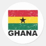 Bandera del vintage de Ghana Etiquetas Redondas