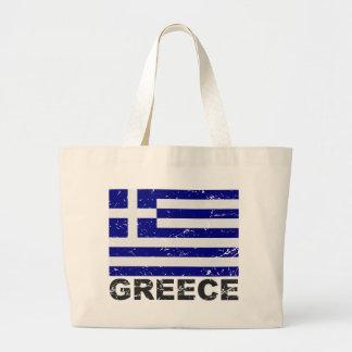 Bandera del vintage de Grecia Bolsa Tela Grande