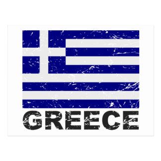 Bandera del vintage de Grecia Tarjetas Postales