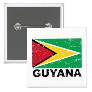 Bandera del vintage de Guyana Pin Cuadrada 5 Cm