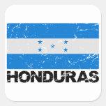Bandera del vintage de Honduras Calcomanía Cuadrada Personalizada