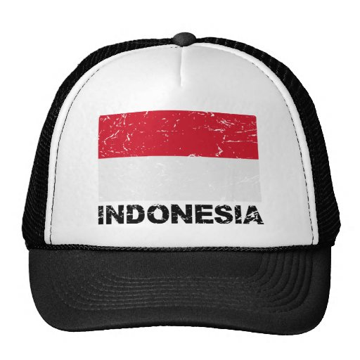 Bandera del vintage de Indonesia Gorros