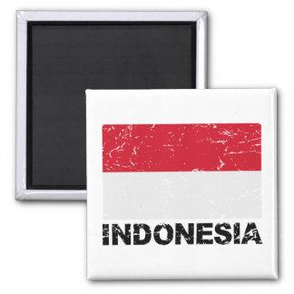 Bandera del vintage de Indonesia Imán Cuadrado