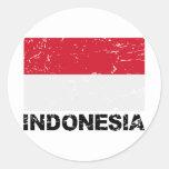 Bandera del vintage de Indonesia Pegatina Redonda