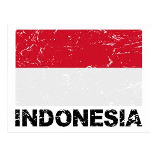 Bandera del vintage de Indonesia Tarjetas Postales