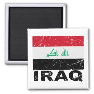 Bandera del vintage de Iraq Imán Cuadrado