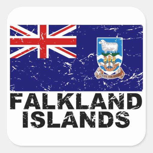 Bandera del vintage de Islas Malvinas Pegatina Cuadrada