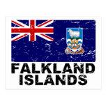 Bandera del vintage de Islas Malvinas Postal