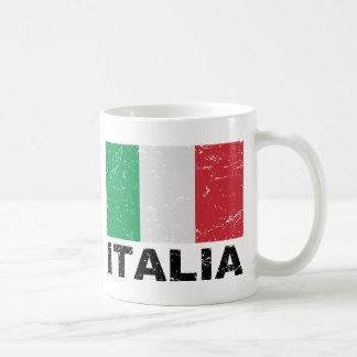 Bandera del vintage de Italia Taza De Café