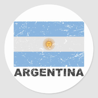 Bandera del vintage de la Argentina Etiqueta Redonda