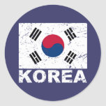 Bandera del vintage de la Corea del Sur Pegatina Redonda