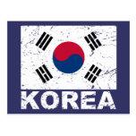 Bandera del vintage de la Corea del Sur Postal