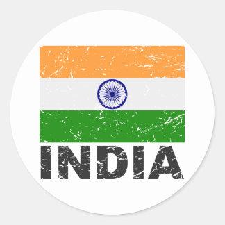 Bandera del vintage de la India Pegatina Redonda