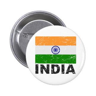 Bandera del vintage de la India Pin Redondo 5 Cm