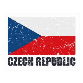 Bandera del vintage de la República Checa Postal