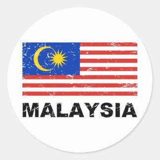 Bandera del vintage de Malasia Pegatina Redonda
