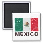 Bandera del vintage de México Imán Cuadrado