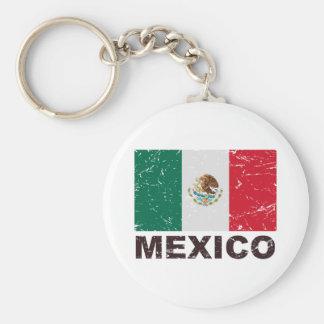 Bandera del vintage de México Llavero Redondo Tipo Pin