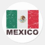 Bandera del vintage de México Pegatina Redonda