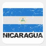 Bandera del vintage de Nicaragua Pegatina Cuadradas Personalizada
