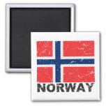 Bandera del vintage de Noruega Imanes Para Frigoríficos