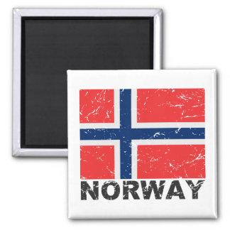Bandera del vintage de Noruega Imán Cuadrado
