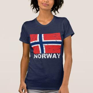 Bandera del vintage de Noruega Playera