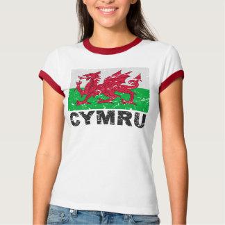 Bandera del vintage de País de Gales CYMRU Poleras