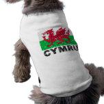 Bandera del vintage de País de Gales CYMRU Camisa De Perrito