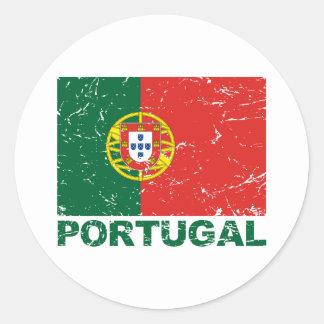 Bandera del vintage de Portugal Pegatina Redonda