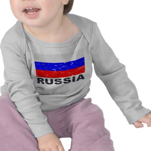 Bandera del vintage de Rusia Camiseta