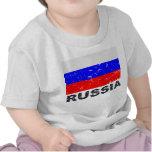 Bandera del vintage de Rusia Camisetas