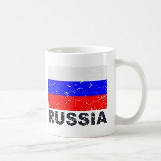 Bandera del vintage de Rusia Taza Básica Blanca