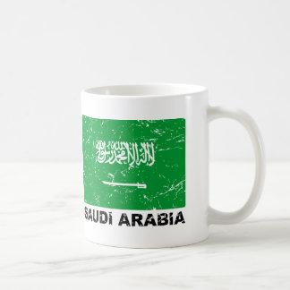 Bandera del vintage de Saudia Arabia Tazas De Café