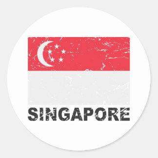 Bandera del vintage de Singapur Etiquetas Redondas