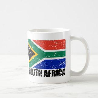 Bandera del vintage de Suráfrica Tazas De Café