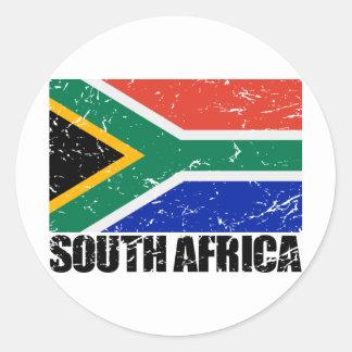 Bandera del vintage de Suráfrica Pegatina Redonda