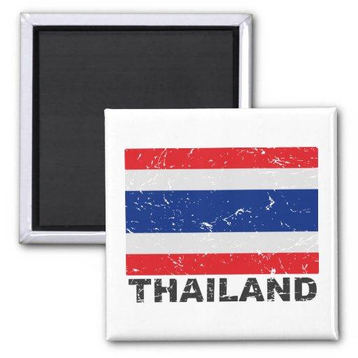 Bandera del vintage de Tailandia Imán Cuadrado