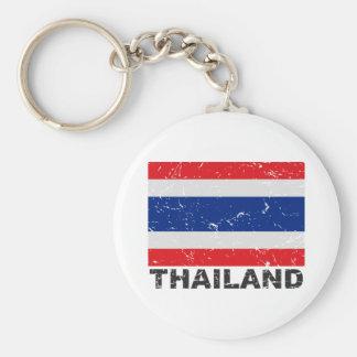 Bandera del vintage de Tailandia Llavero Redondo Tipo Pin
