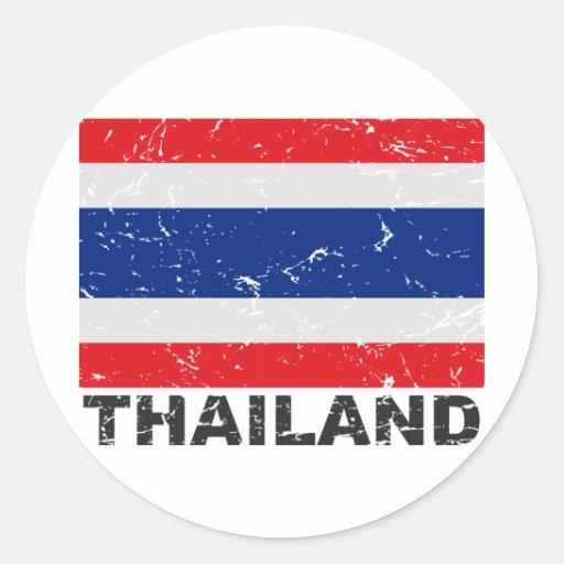 Bandera del vintage de Tailandia Pegatinas Redondas