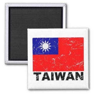Bandera del vintage de Taiwán Imán Cuadrado