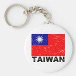 Bandera del vintage de Taiwán Llaveros Personalizados