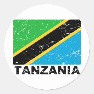 Bandera del vintage de Tanzania Pegatinas Redondas
